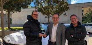 Toni Masana, gerent de Eix Motor Catalunya, Joan Carles Batanés, alcalde de Sant Fruitós de Bages i Xavier Racero regidor de medi ambient