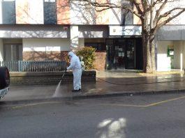 Treballs de desinfecció dels carrers de Sant Fruitós. - FOTO: Ajuntament de Sant Fruitós