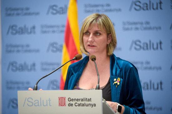 La consellera de Salut, Alba Vergés, en roda de premsa el 22 d'abril.